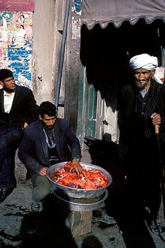 image 0-0-93 Afghanistan, Street scene with meat vendor, Herat