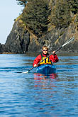 rocky cliffs stock photography | Alaska, Kodiak, Kayaking in Monashka Bay, image id 5-650-1238