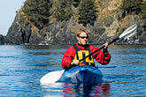 carefree stock photography | Alaska, Kodiak, Kayaking in Monashka Bay, image id 5-650-1245