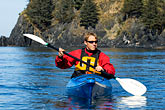 red rock stock photography | Alaska, Kodiak, Kayaking in Monashka Bay, image id 5-650-1246