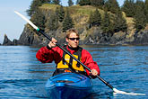 red rock stock photography | Alaska, Kodiak, Kayaking in Monashka Bay, image id 5-650-1249