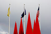 pointy stock photography | Alaska, Anchorage, Flags and metal sculpture, image id 5-650-3266
