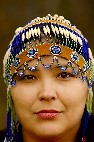 Alaska Anchorage Alaskan Native Woman With Beaded Headdress