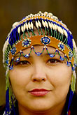 colour stock photography | Alaska, Anchorage, Alaskan Native woman with beaded headdress, image id 5-650-3427