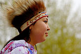 feathered alaskan native dress stock photography | Alaska, Anchorage, Yupik dancer, image id 5-650-3611
