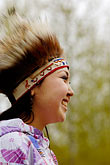feathered alaskan native dress stock photography | Alaska, Anchorage, Yupik dancer, image id 5-650-3612