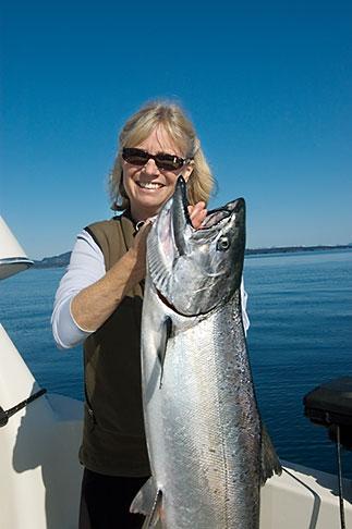 image 5-650-4148 Alaska, Kodiak, Fisherman and King Salmon