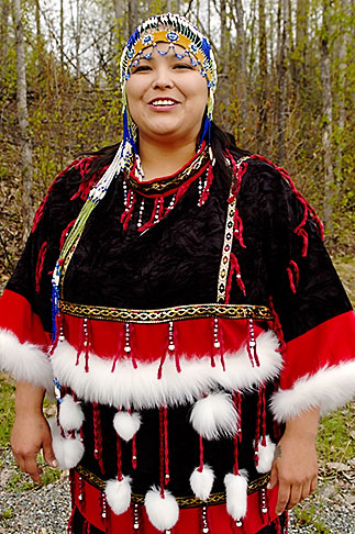 image 5-650-603 Alaska, Anchorage, Alutiiq woman with beaded headdress
