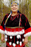 alaskan native heritage center stock photography | Alaska, Anchorage, Alutiiq woman with beaded headdress, image id 5-650-603