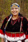 colored beads stock photography | Alaska, Anchorage, Alutiiq woman with beaded headdress, image id 5-650-606