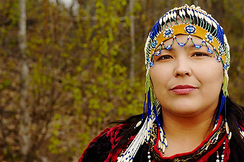 image 5-650-607 Alaska, Anchorage, Alutiiq woman with beaded headdress