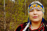 colored beads stock photography | Alaska, Anchorage, Alutiiq woman with beaded headdress, image id 5-650-607