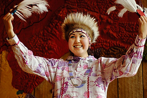 image 5-650-624 Alaska, Anchorage, Yupik dancer, Alaskan Native Heritage Center