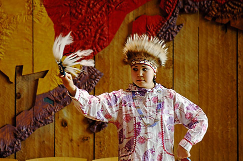 image 5-650-634 Alaska, Anchorage, Yupik dancer, Alaskan Native Heritage Center