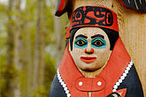 folk art stock photography | Alaska, Anchorage, Totem pole, Alaskan Native Heritage Center, image id 5-650-661