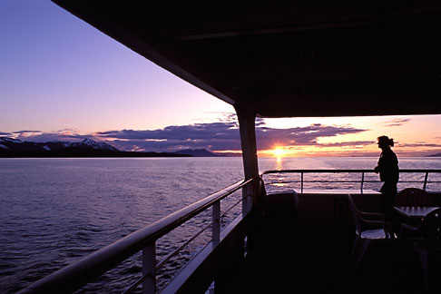 image 7-211-9 Alaska, Inside Passage, Sunset from cruise ship