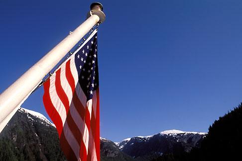 image 7-239-4 Alaska, Misty Fjords National Monument, Flag and mountains
