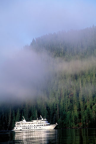 image 7-240-11 Alaska, Misty Fjords National Monument, Cruise ship in morning mist
