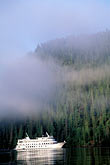 vessel stock photography | Alaska, Misty Fjords National Monument, Cruise ship in morning mist, image id 7-240-11