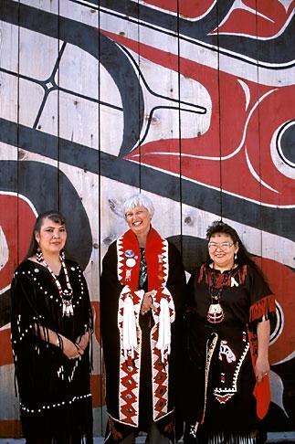image 7-249-2 Alaska, Ketchikan, Tsimshian women with visitor, Metlakatla Island