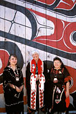 three people only stock photography | Alaska, Ketchikan, Tsimshian women with visitor, Metlakatla Island, image id 7-249-2
