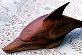 wildlife stock photography | Antigua, English Harbor, Wood carving of dolphin by Carl Henry, image id 4-600-17
