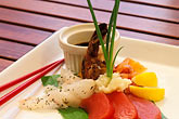 entree stock photography | Food, Fusion of fish, tuna sashimi, snapper ceviche, grilled mahi-mahi, marinated shrimp & smoked salmon, image id 4-600-64