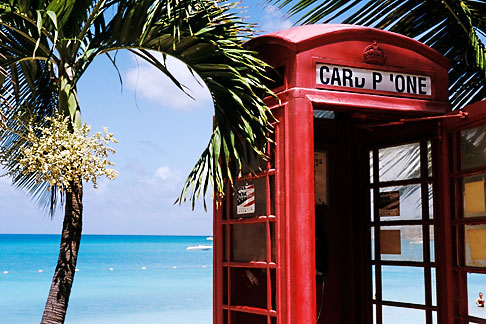 image 4-600-80 Antigua, Dickenson Bay, Telephone booth and palms