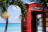 green water stock photography | Antigua, Dickenson Bay, Telephone booth and palms, image id 4-600-80