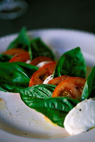 image 4-601-70 Food, Caprese salad, homemade mozzarella with tomatoes and fresh basil