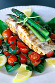 vertical stock photography | Food, Grilled mahi-mahi fillet with cherry tomatoes and capers salad, image id 4-601-78