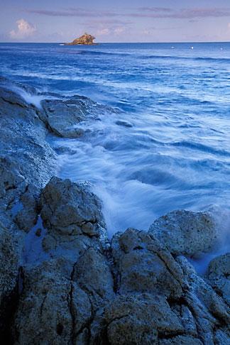 image 4-602-2 Antigua, Hawksbill Beach, surf and rocks at dawn