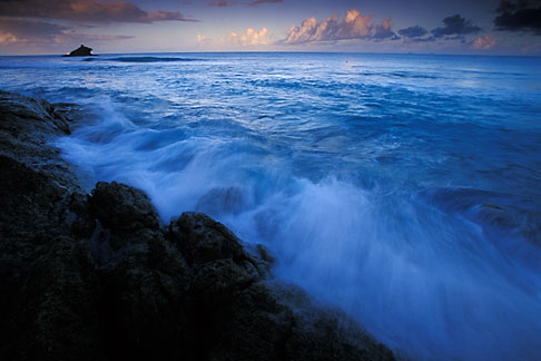 image 4-602-52 Antigua, Hawksbill Beach, surf and rocks at dawn