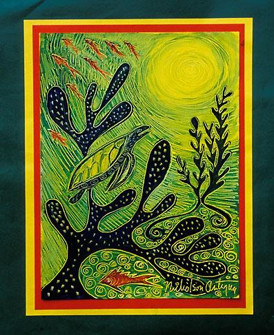 image 4-604-70 Art, Nancy Nicholson, Sea Turtle and seaweed painting
