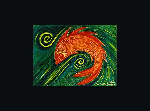image 4-604-74 Art, Nancy Nicholson, Fish painting