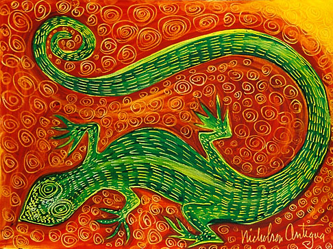 image 4-604-80 Art, Nancy Nicholson, Green lizard painting