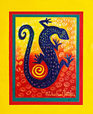 yellow stock photography | Art, Nancy Nicholson, Blue lizard painting, image id 4-604-84