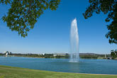 sunlight stock photography | Australia, Canberra, Lake Burley Griffin, Fountain, image id 5-600-1637
