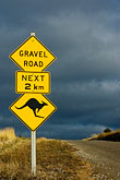 dirt road stock photography | Australia, Kangaroo crossing sign, image id 5-600-2541