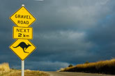 gravel road stock photography | Australia, Kangaroo warning sign, image id 5-600-2543