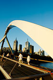 curved stock photography | Australia, Melbourne, Pedestrian Bridge across the Yarra River, image id 5-600-8721