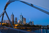 skyline stock photography | Australia, Melbourne, Pedestrian Bridge across the Yarra River, image id 5-600-8749