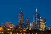 downtown skyline at night stock photography | Australia, Melbourne, Skyline at evening, image id 5-600-8763