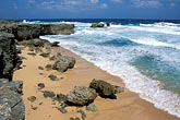 rock islands stock photography | Barbados, St. Lucy, Beach & rocky shoreline, North Point, image id 0-203-42