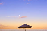 quiet stock photography | Barbados, St. Peter, Cobblers Cove, umbrella and moon, image id 3-386-65