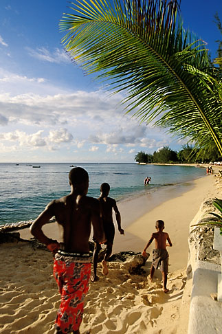 image 3-388-60 Barbados, Holetown, Boys running on beach