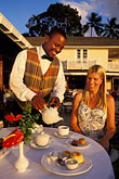 smiling woman stock photography | Barbados, Holetown, Coral Reef Club, afternoon tea, image id 3-490-42