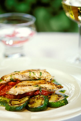 image 3-494-15 Food, Grilled mahi mahi with zucchini and a peperonata sauce, red onions and basil oil