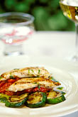 with wine stock photography | Food, Grilled mahi-mahi with zucchini and a peperonata sauce, red onions and basil oil, image id 3-494-15