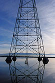 reflections stock photography | California, San Francisco Bay, Transmission towers, Palo Alto baylands, image id 0-283-4